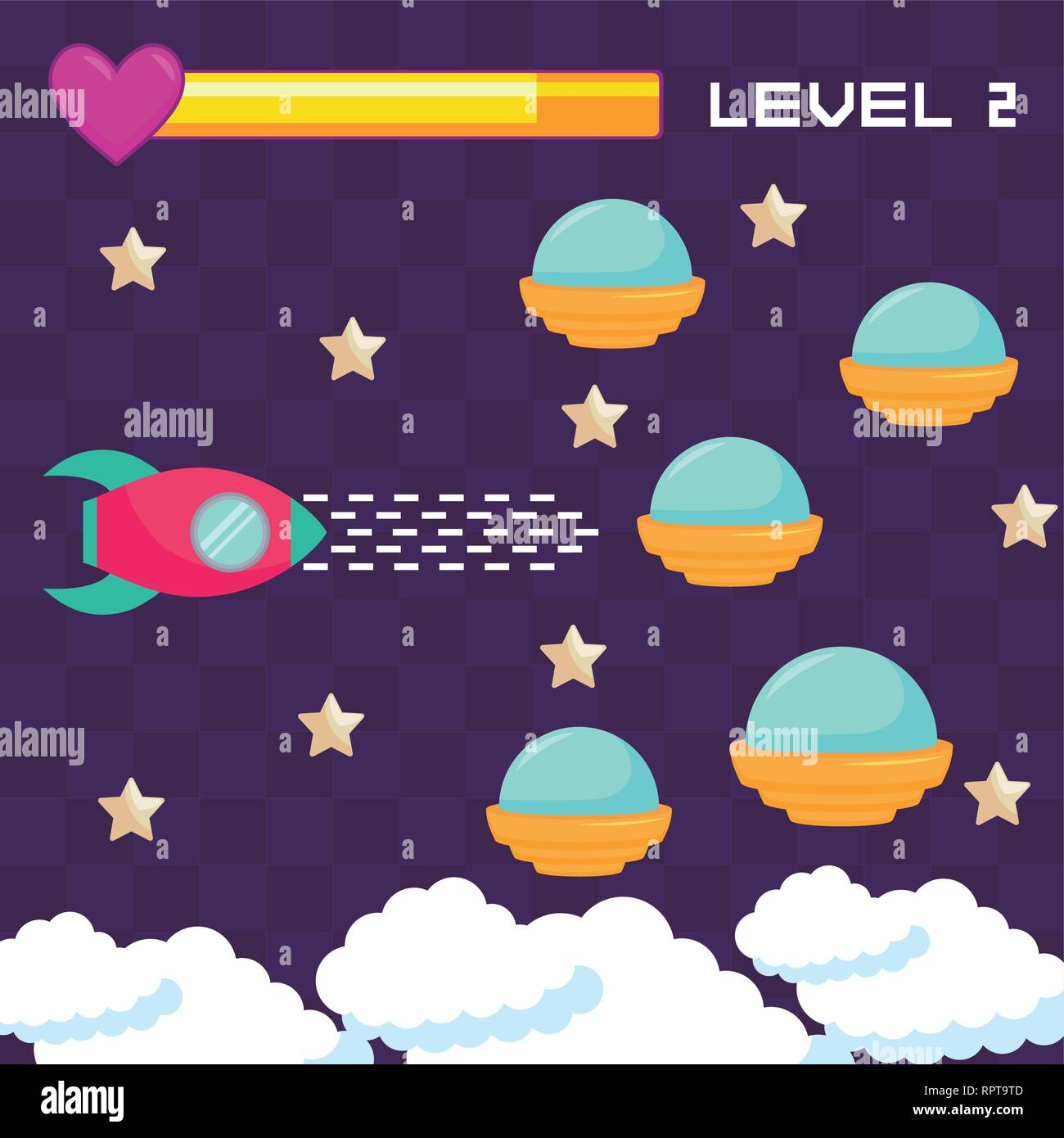 classic video game ufos flying vector illustration design - Stock Image