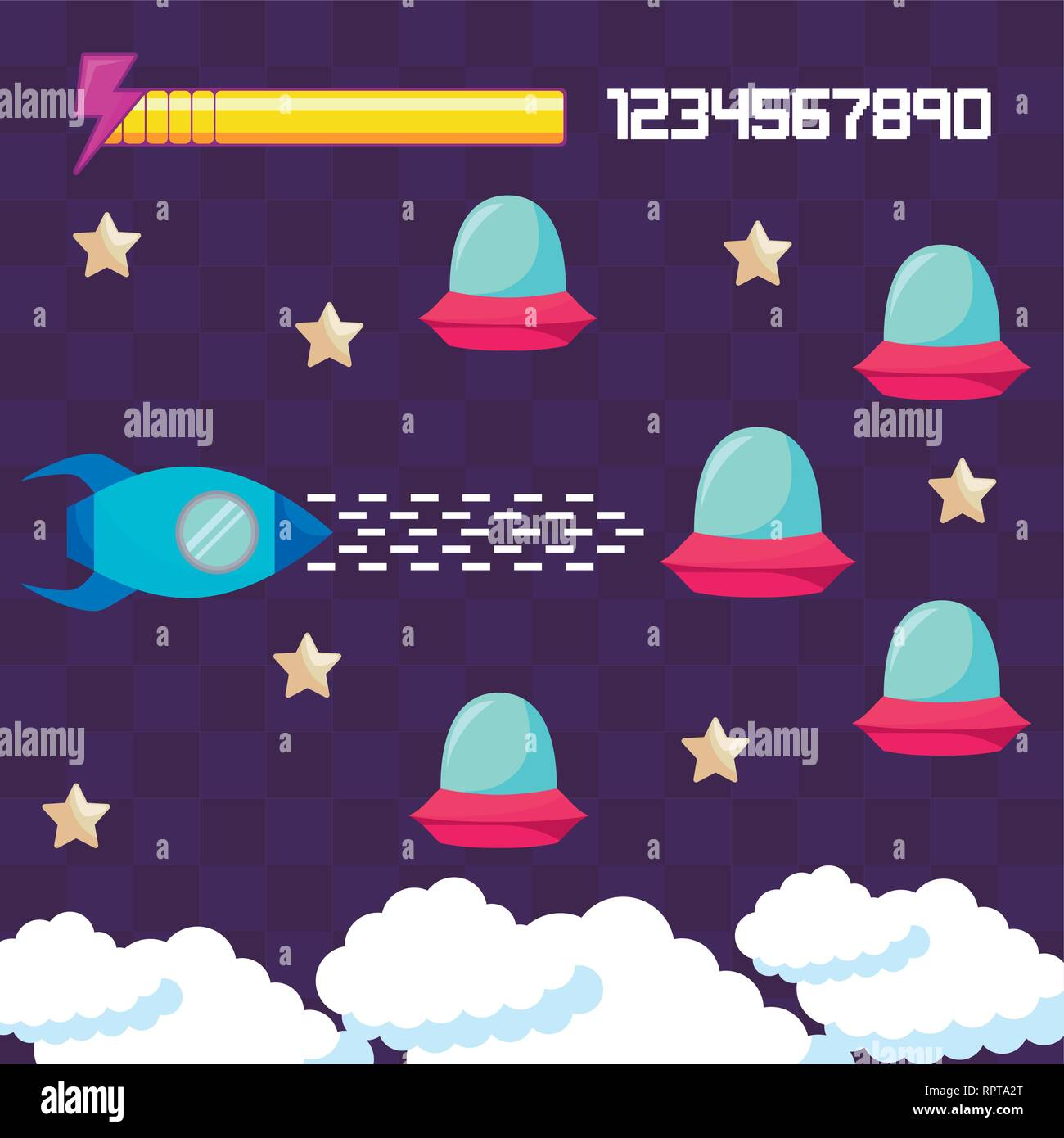 classic video game rocket flying and ufos vector illustration design - Stock Image