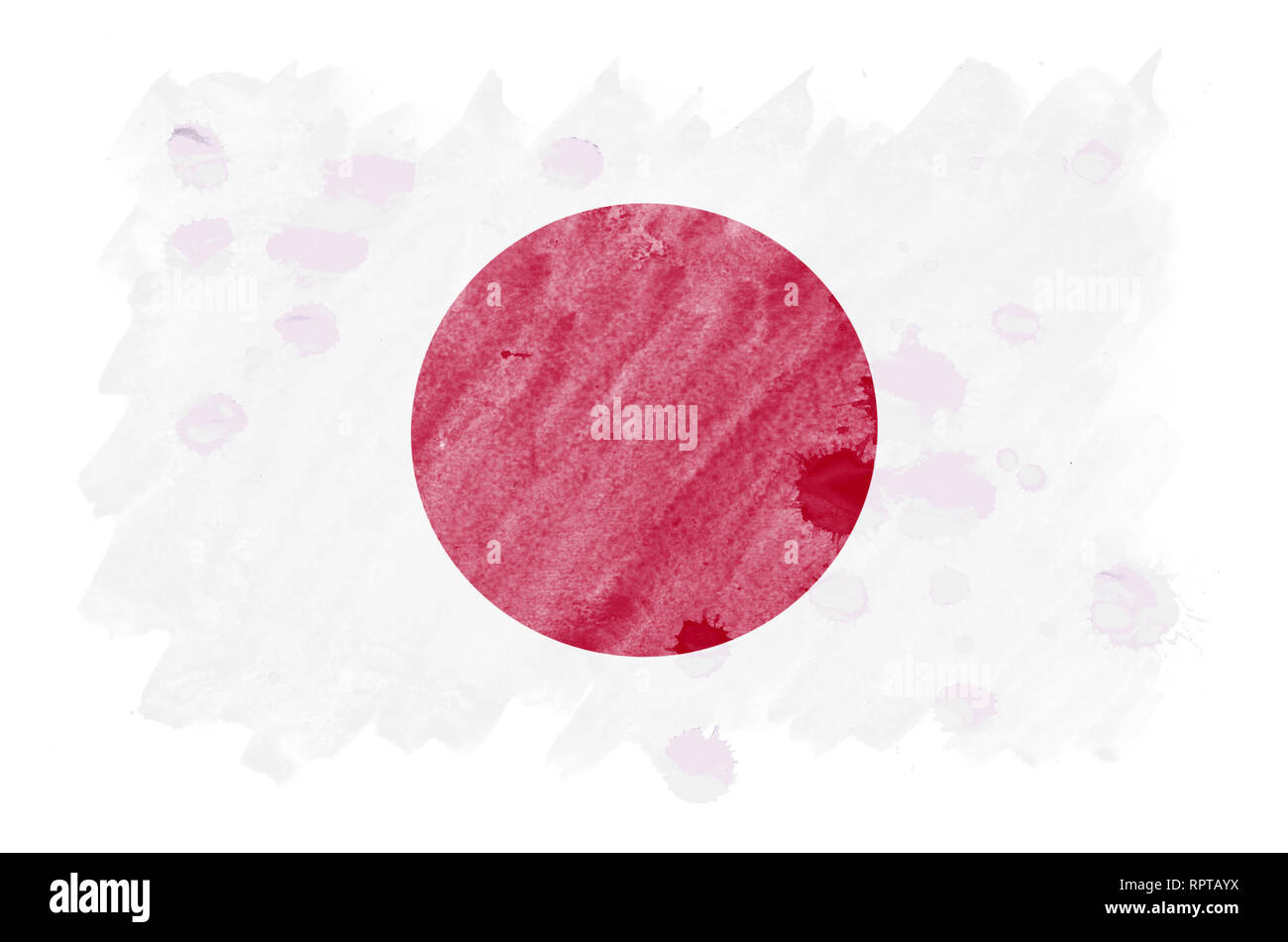 Japan flag  is depicted in liquid watercolor style isolated on white background. Careless paint shading with image of national flag. Independence Day  Stock Photo