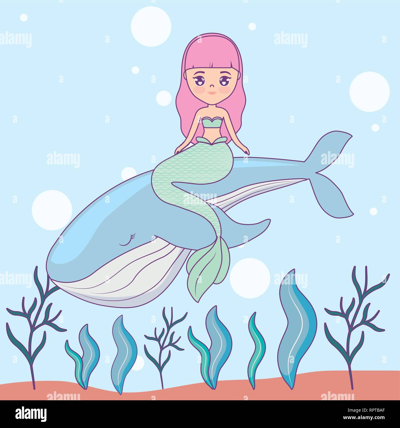 cute mermaid with whale in the sea vector illustration design - Stock Vector