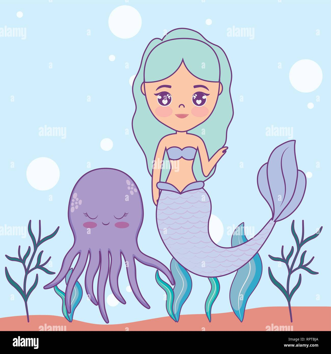 cute mermaid with octopus in the sea vector illustration design - Stock Vector