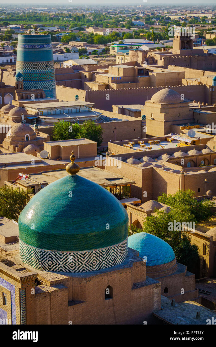 Ancient City Khiva in Uzbekistan, panoramic views Stock Photo