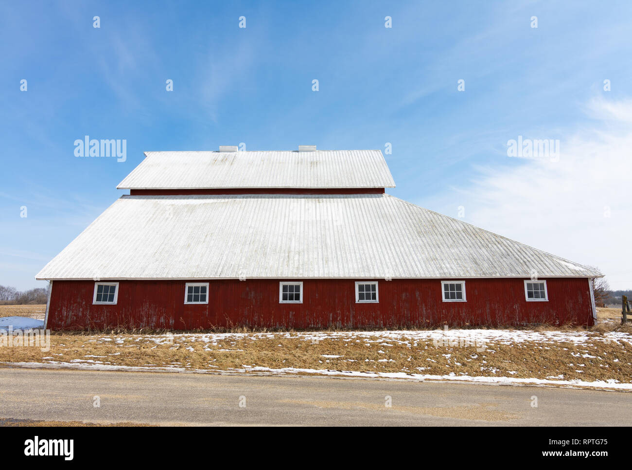 Old red barn in the rural midwest bureau county illinois usa