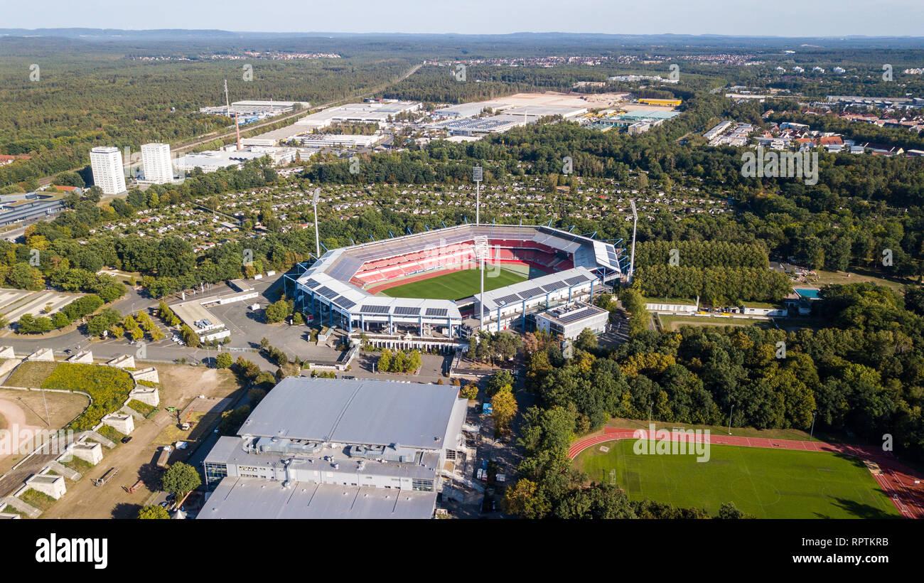 Max-Morlock-Stadion, formerly Stadion der Hitlerjugend or stadium of the Hitler Youth, Nuremberg, Germany - Stock Image