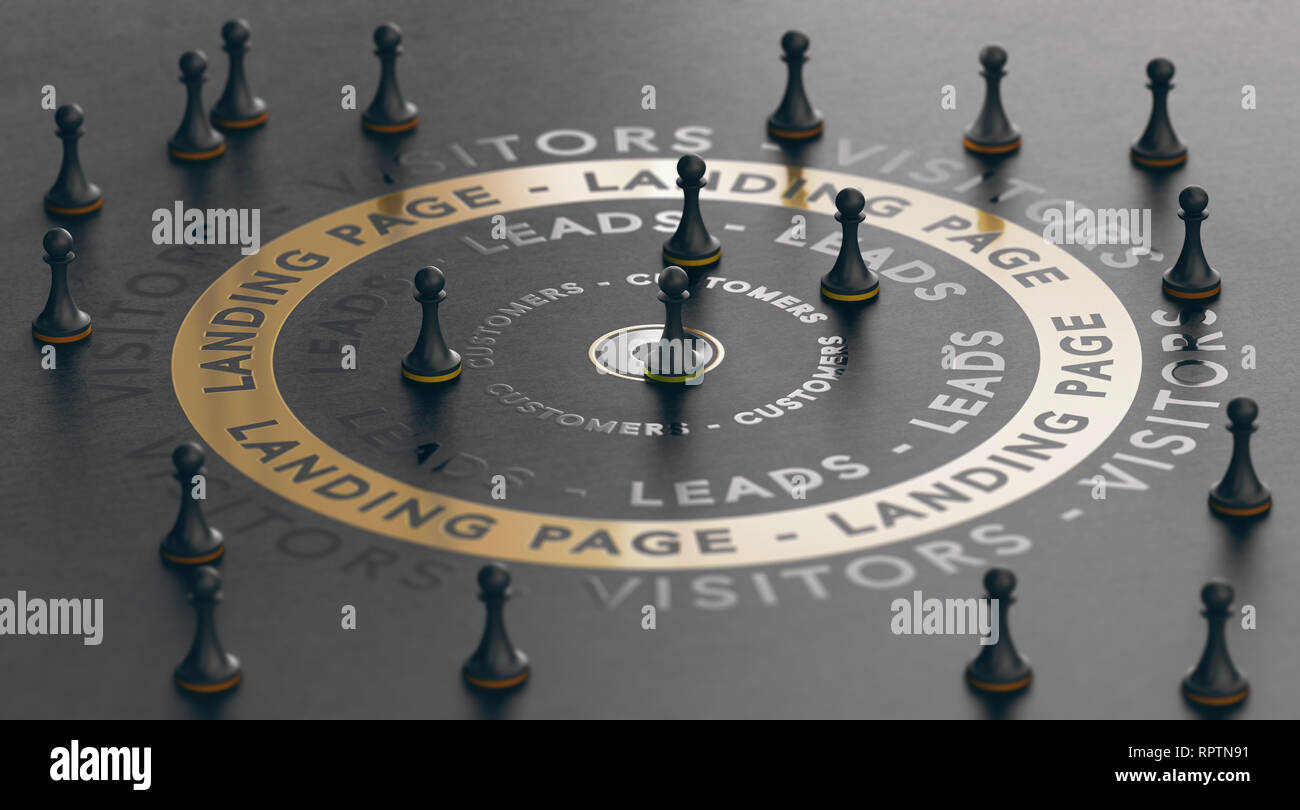 3d illustration of an inbound marketing concept with pawns around a golden landing page over black background. Modern design. - Stock Image