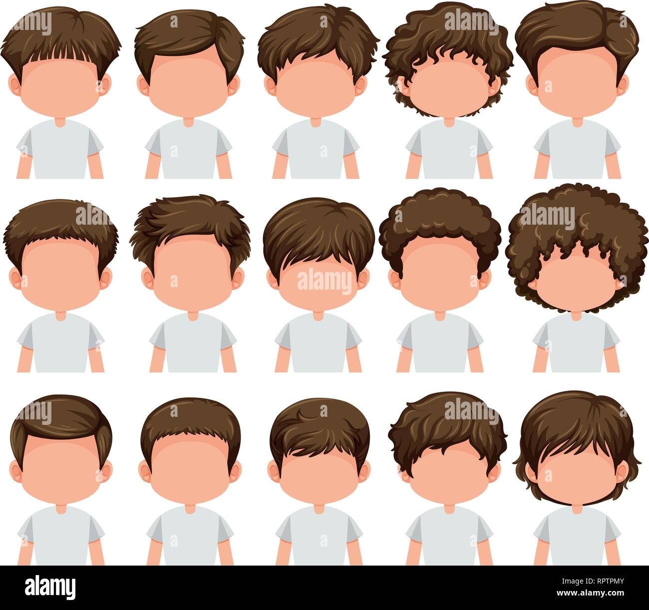 Set Of Boy Different Hairstyle Illustration Stock Vector Art