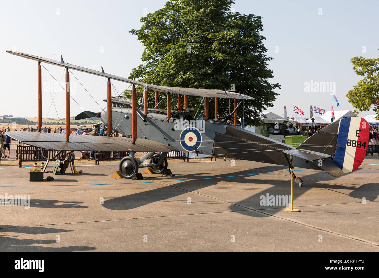 De Havilland DH-9 E-8894 biplane in the static display at the IWM Duxford Flying Legends airshow - Stock Image
