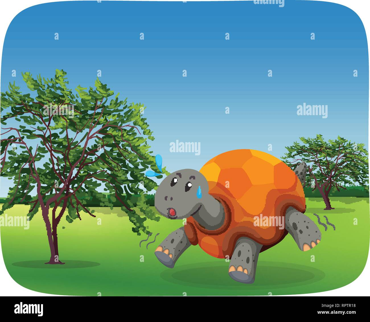 Running turtle in nature scene illustration - Stock Vector