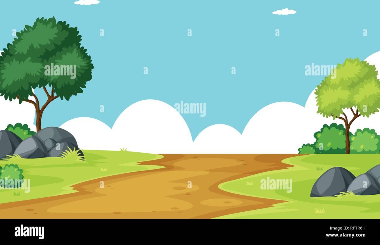 Outdoor landscape background scene illustration - Stock Vector