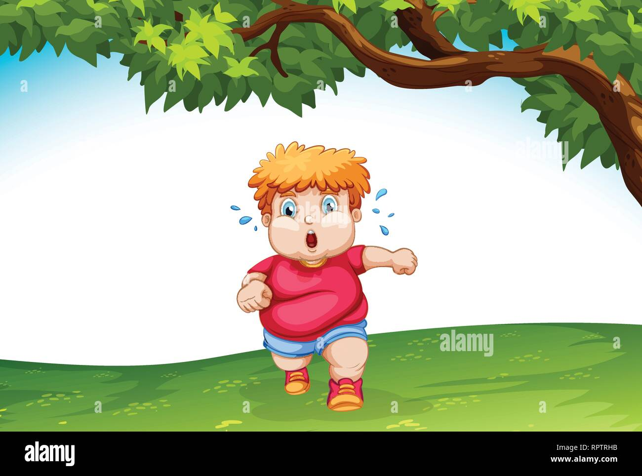 Obese child running outside illustration - Stock Vector