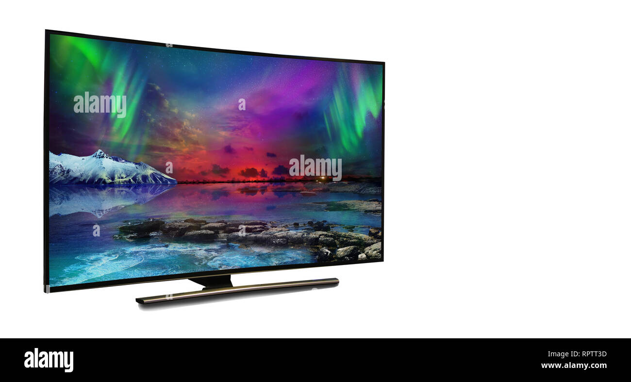 4k monitor isolated on white. tv with the nature view - Stock Image