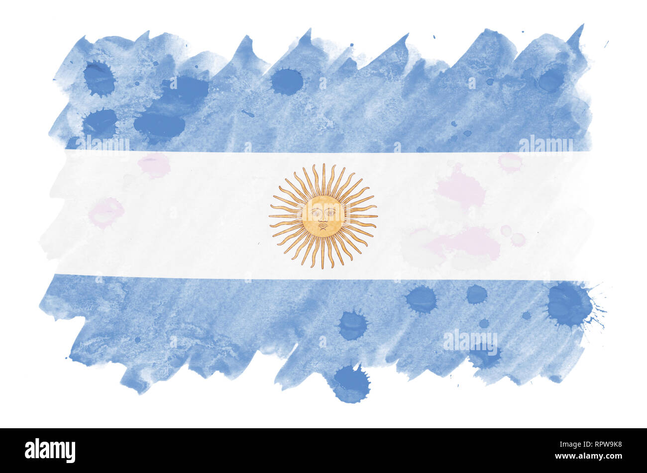 Argentina flag  is depicted in liquid watercolor style isolated on white background. Careless paint shading with image of national flag. Independence  - Stock Image