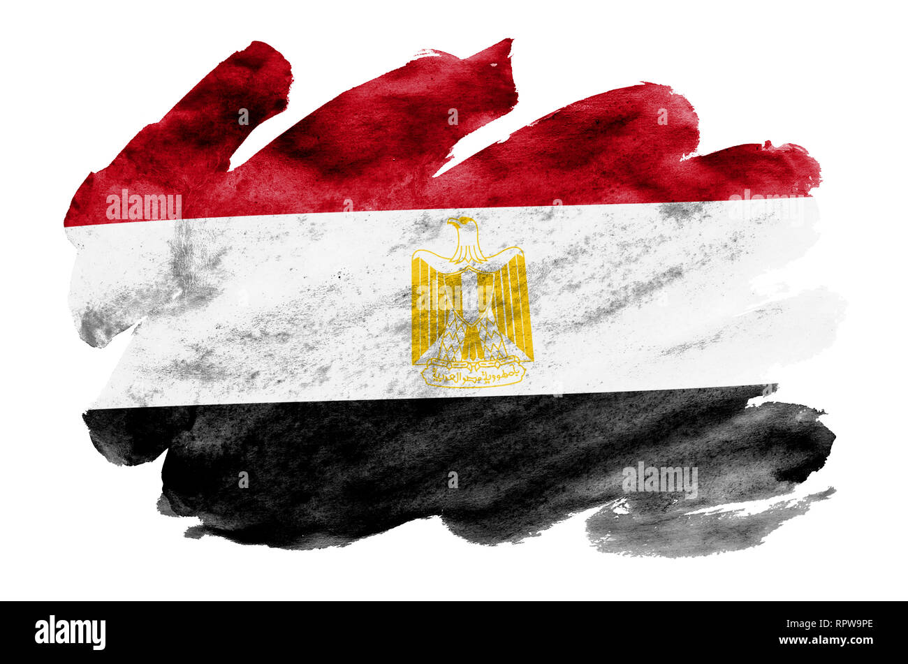Egypt flag  is depicted in liquid watercolor style isolated on white background. Careless paint shading with image of national flag. Independence Day  - Stock Image