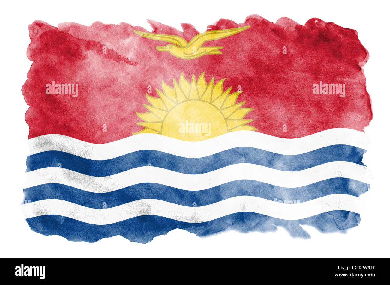 Kiribati flag  is depicted in liquid watercolor style isolated on white background. Careless paint shading with image of national flag. Independence D - Stock Image