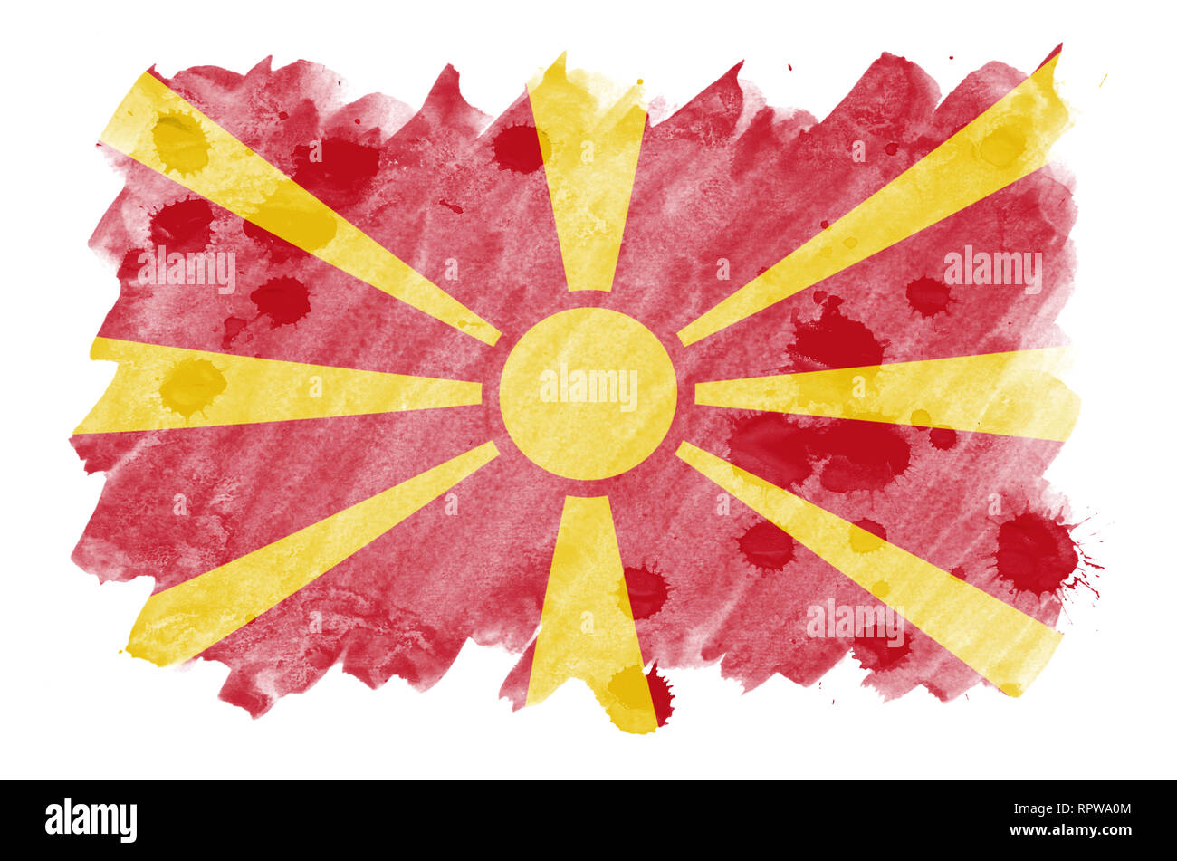 Macedonia flag  is depicted in liquid watercolor style isolated on white background. Careless paint shading with image of national flag. Independence  - Stock Image
