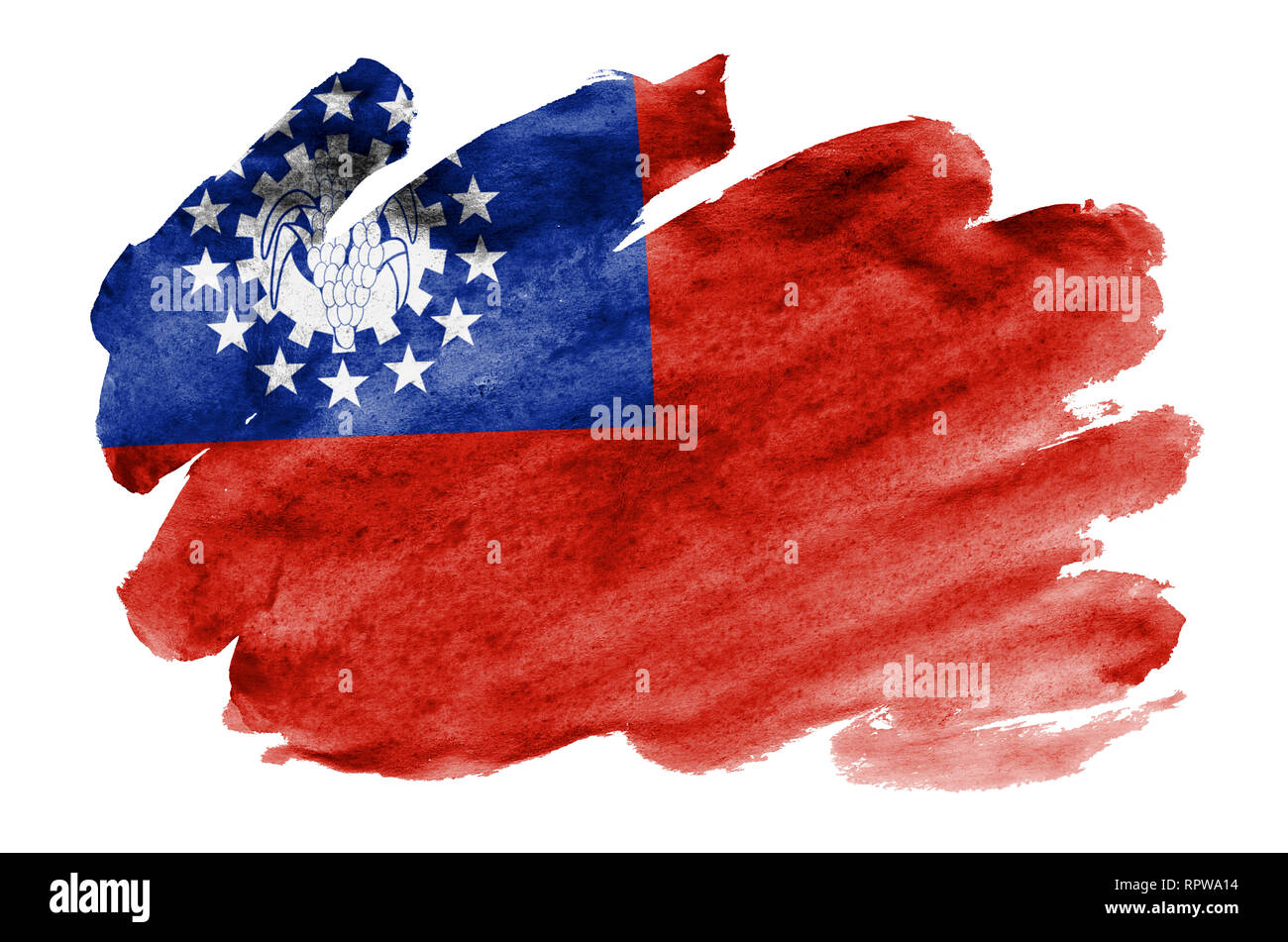 Myanmar flag  is depicted in liquid watercolor style isolated on white background. Careless paint shading with image of national flag. Independence Da Stock Photo