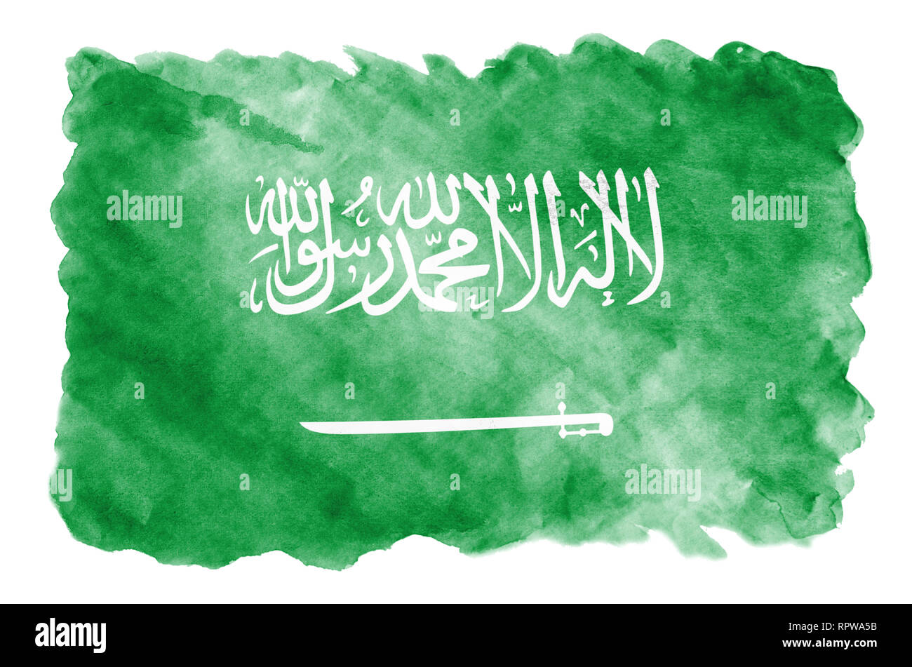 Saudi Arabia flag  is depicted in liquid watercolor style isolated on white background. Careless paint shading with image of national flag. Independen - Stock Image