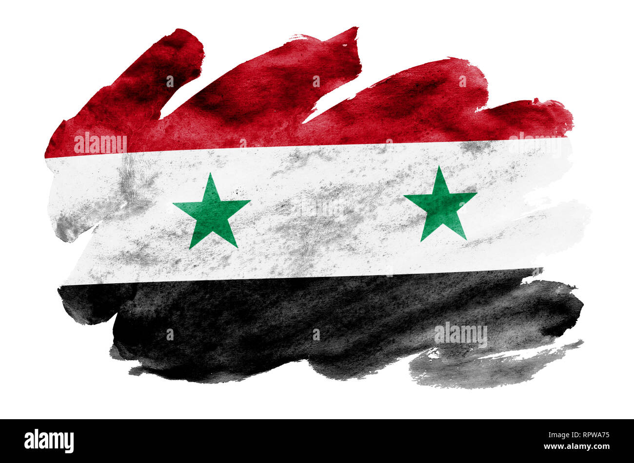 Syria flag  is depicted in liquid watercolor style isolated on white background. Careless paint shading with image of national flag. Independence Day  - Stock Image