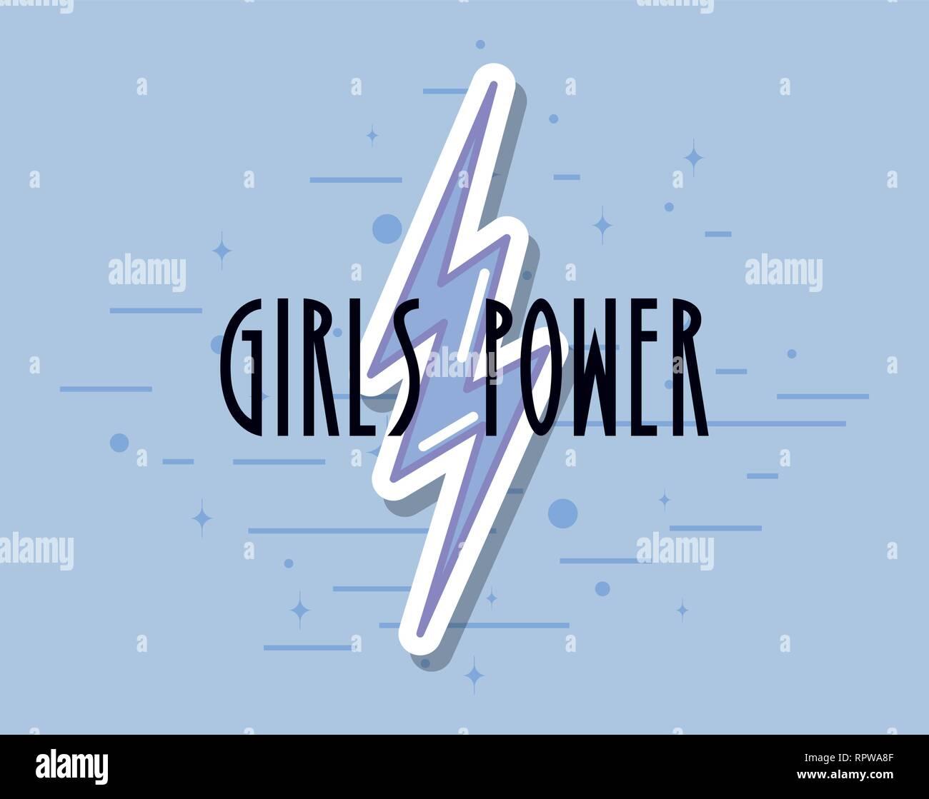 girls power ray feminism poster vector illustration - Stock Image