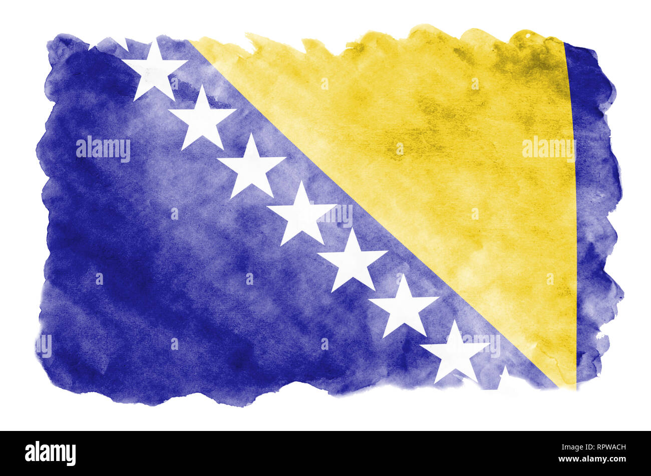 Bosnia and Herzegovina flag  is depicted in liquid watercolor style isolated on white background. Careless paint shading with image of national flag.  - Stock Image
