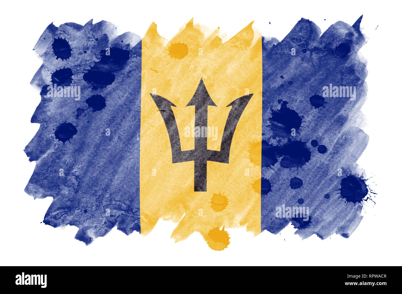 Barbados flag  is depicted in liquid watercolor style isolated on white background. Careless paint shading with image of national flag. Independence D - Stock Image