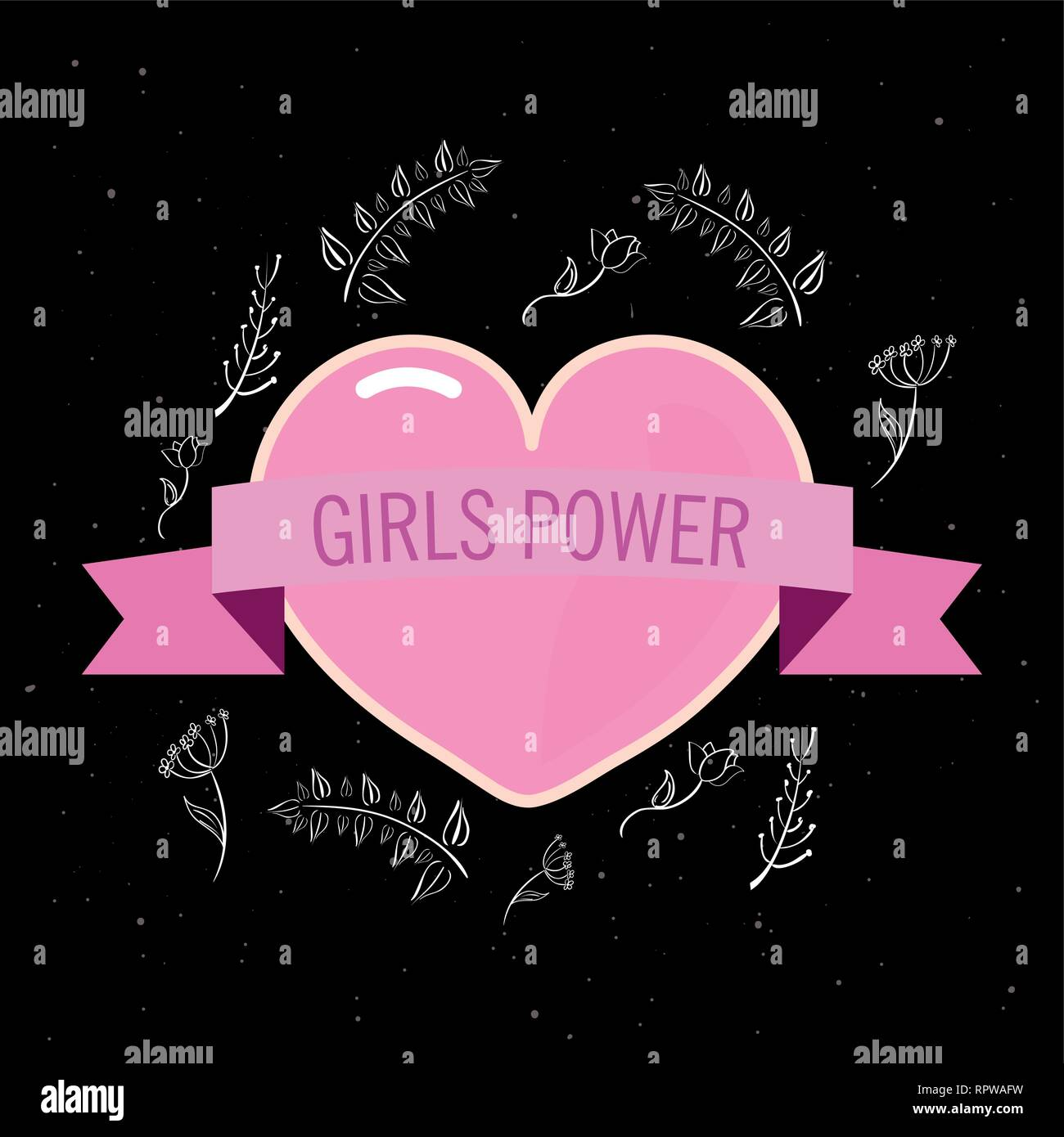Pink Heart Floral Black Background Girls Power Vector Illustration Stock Vector Image Art Alamy