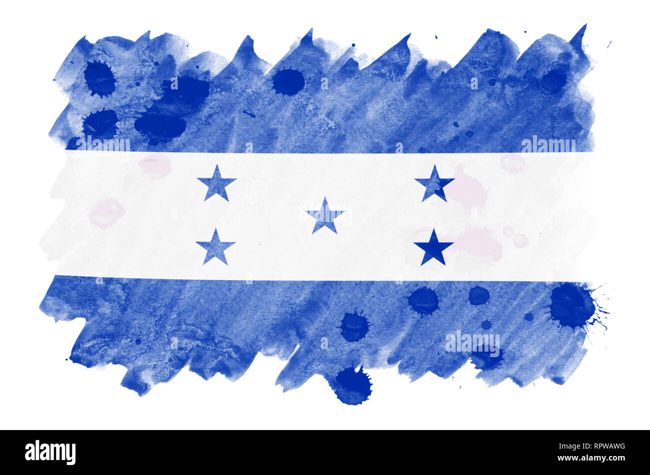Honduras flag  is depicted in liquid watercolor style isolated on white background. Careless paint shading with image of national flag. Independence D Stock Photo