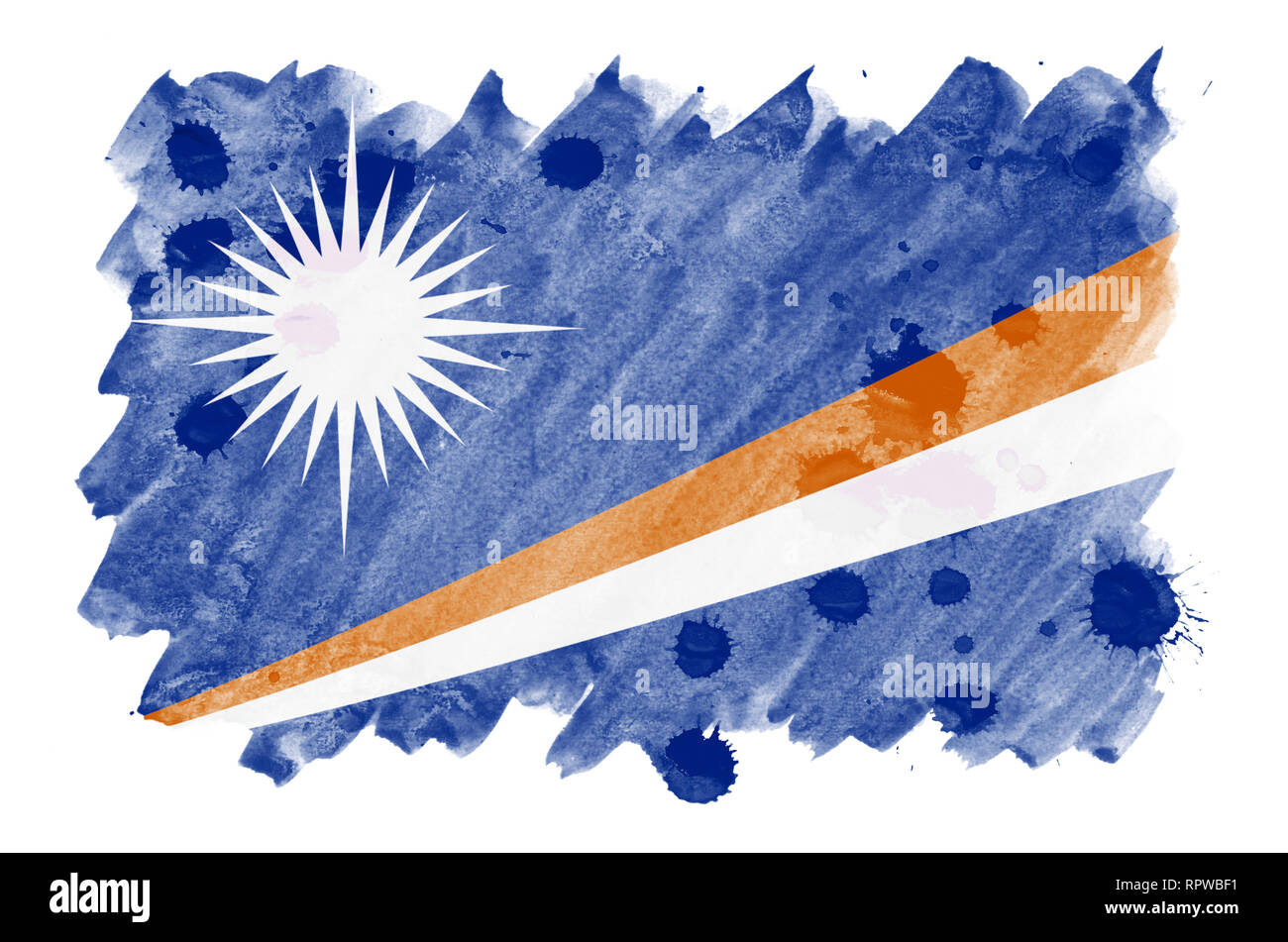 Marshall Islands flag  is depicted in liquid watercolor style isolated on white background. Careless paint shading with image of national flag. Indepe - Stock Image