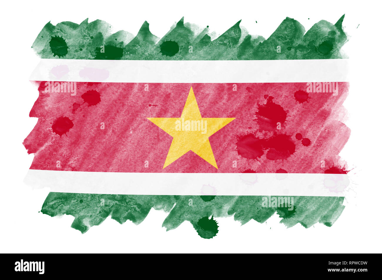 Suriname flag  is depicted in liquid watercolor style isolated on white background. Careless paint shading with image of national flag. Independence D - Stock Image
