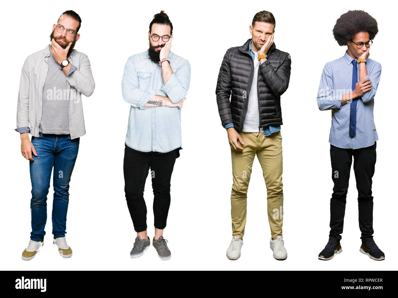 Collage of group of young men over white isolated background thinking looking tired and bored with depression problems with crossed arms. Stock Photo