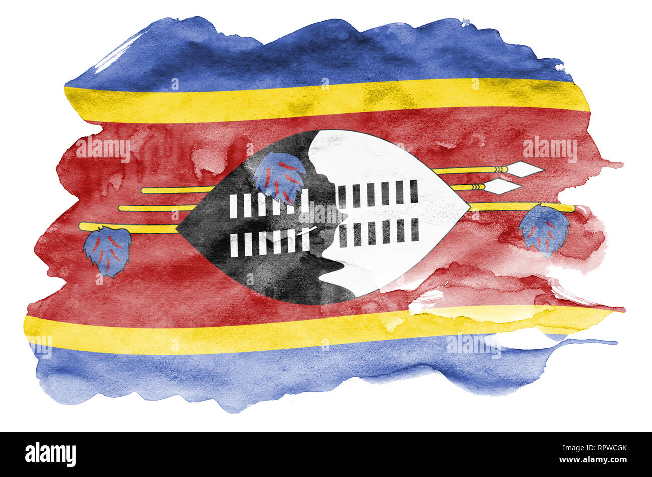 Swaziland flag  is depicted in liquid watercolor style isolated on white background. Careless paint shading with image of national flag. Independence  Stock Photo