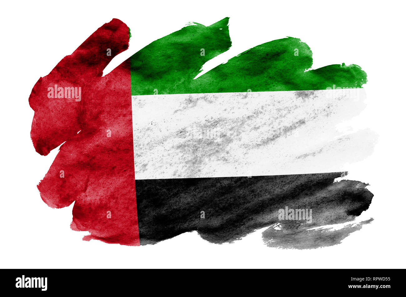 United Arab Emirates flag  is depicted in liquid watercolor style isolated on white background. Careless paint shading with image of national flag. In - Stock Image