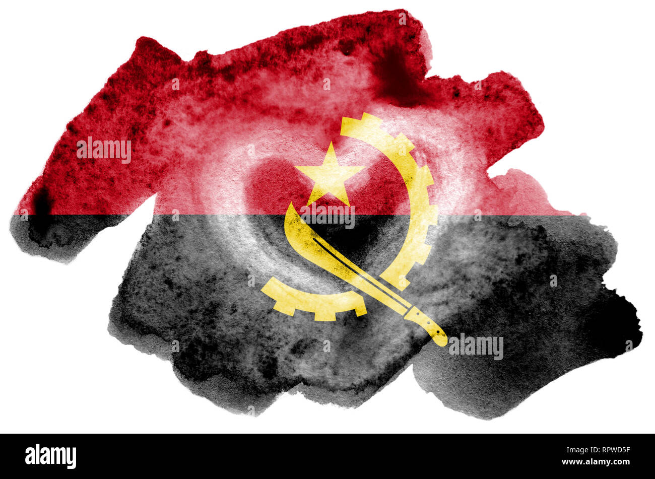 Angola flag  is depicted in liquid watercolor style isolated on white background. Careless paint shading with image of national flag. Independence Day - Stock Image