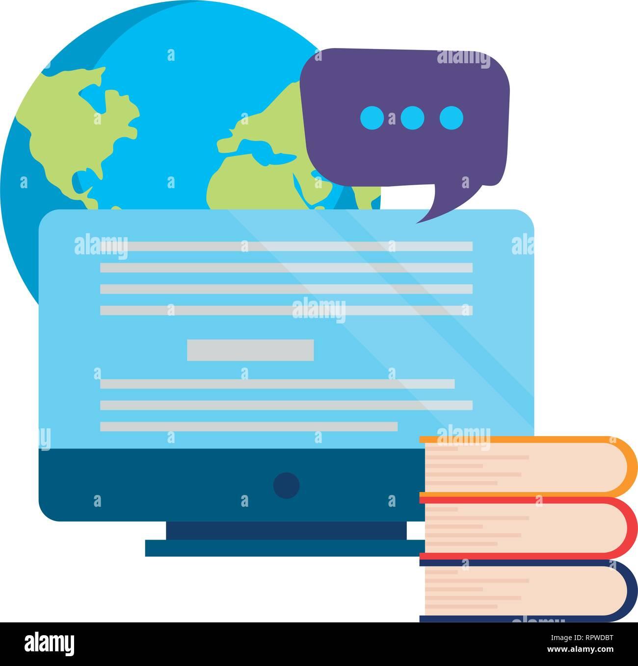 world books computer online education school vector