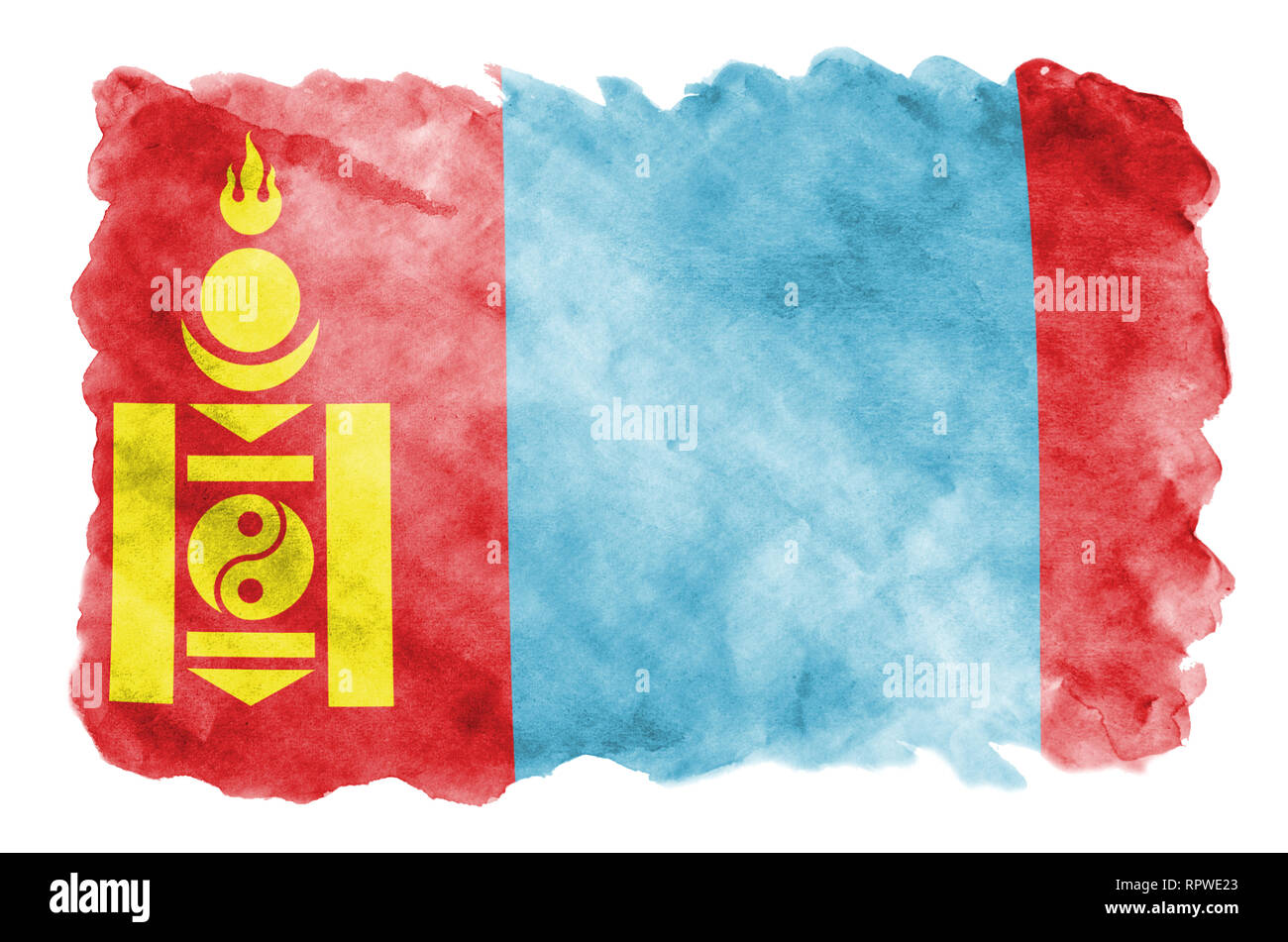 Mongolia flag  is depicted in liquid watercolor style isolated on white background. Careless paint shading with image of national flag. Independence D - Stock Image