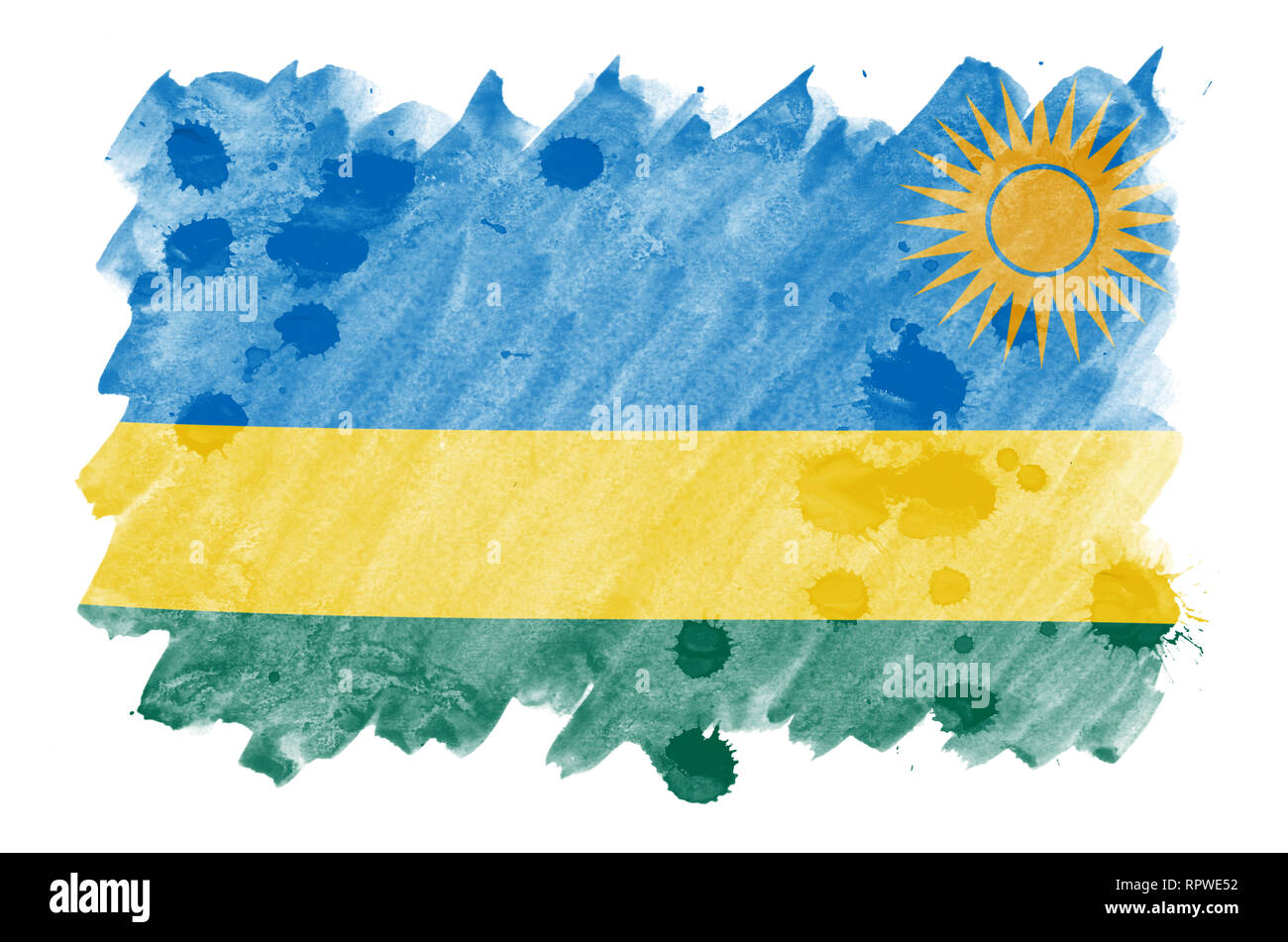 Rwanda flag  is depicted in liquid watercolor style isolated on white background. Careless paint shading with image of national flag. Independence Day - Stock Image