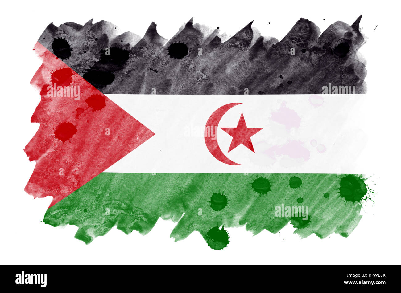 Western Sahara flag  is depicted in liquid watercolor style isolated on white background. Careless paint shading with image of national flag. Independ - Stock Image
