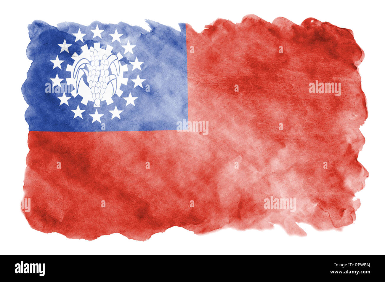 Myanmar flag  is depicted in liquid watercolor style isolated on white background. Careless paint shading with image of national flag. Independence Da - Stock Image