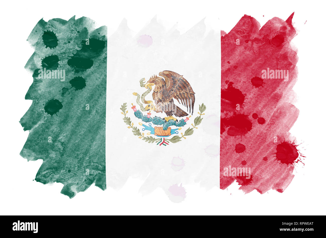 Mexico flag  is depicted in liquid watercolor style isolated on white background. Careless paint shading with image of national flag. Independence Day - Stock Image