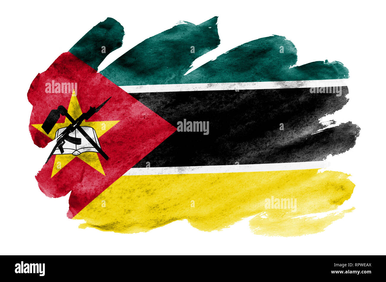 Mozambique flag is depicted in liquid watercolor style