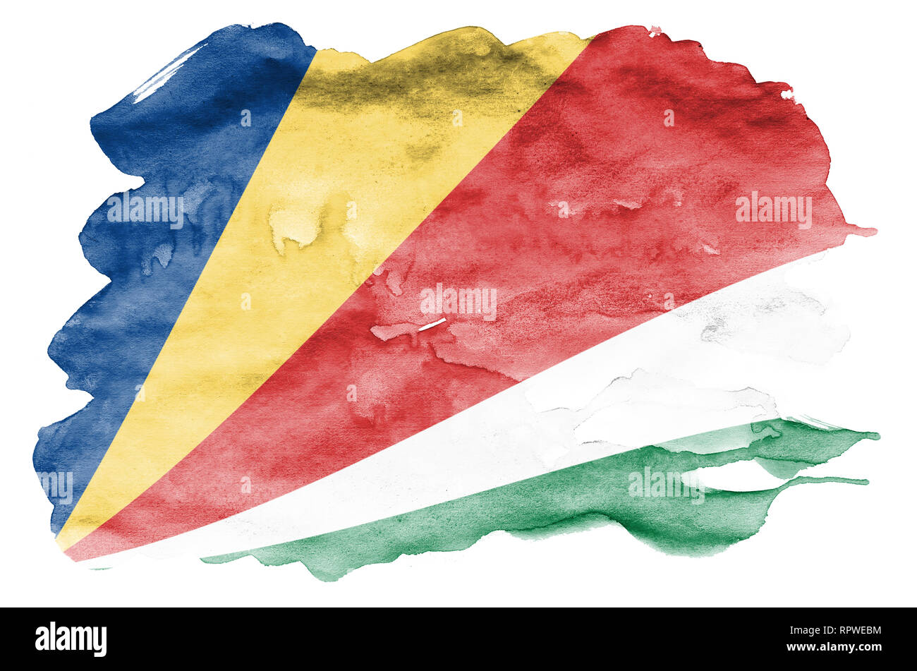 Seychelles flag  is depicted in liquid watercolor style isolated on white background. Careless paint shading with image of national flag. Independence - Stock Image