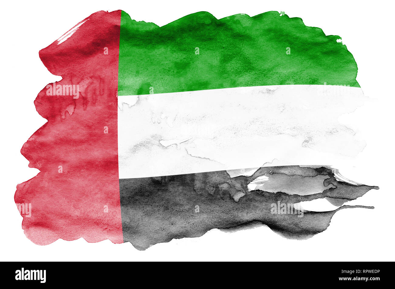 United Arab Emirates flag  is depicted in liquid watercolor style isolated on white background. Careless paint shading with image of national flag. In Stock Photo