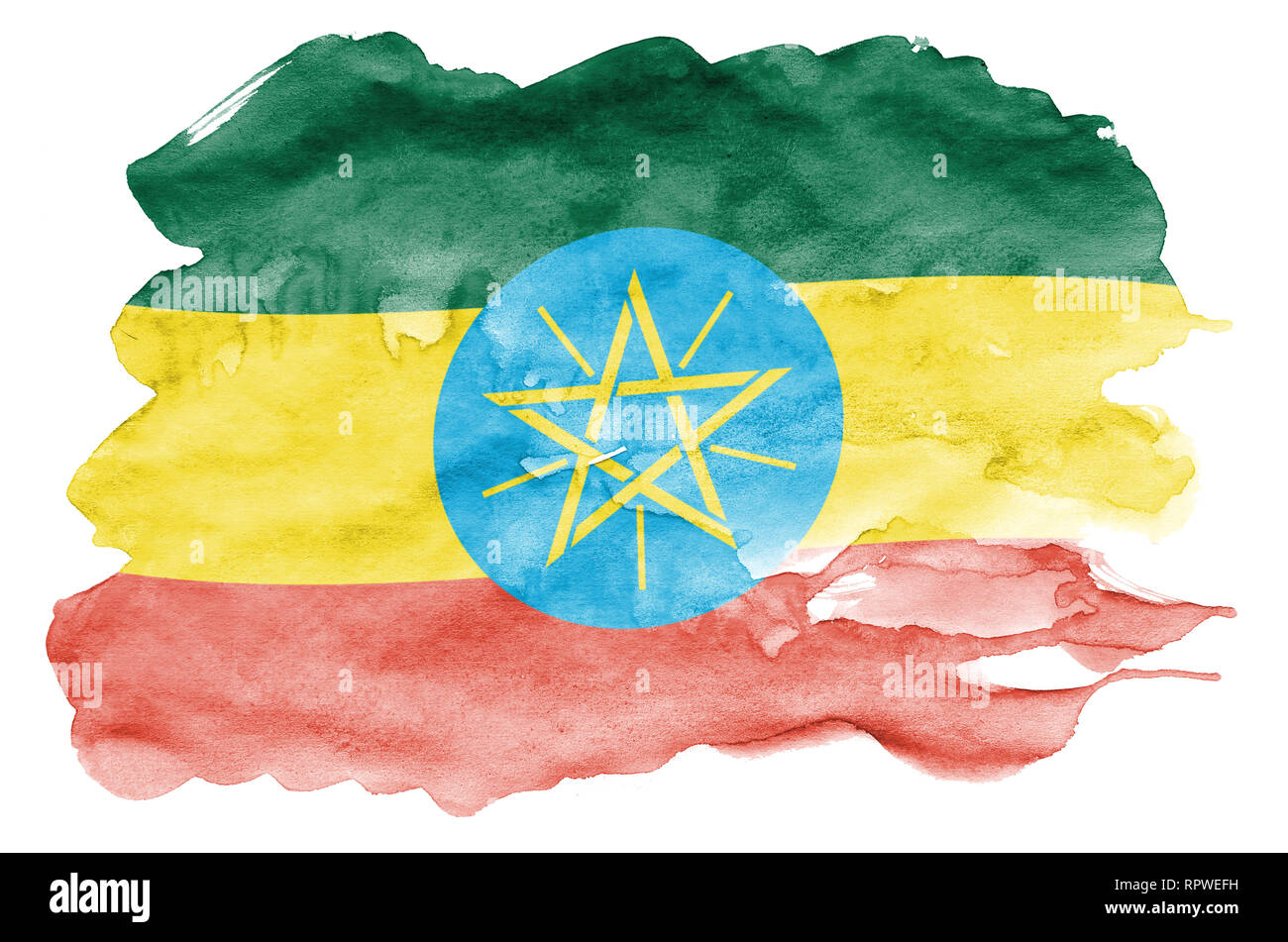 Ethiopia flag  is depicted in liquid watercolor style isolated on white background. Careless paint shading with image of national flag. Independence D - Stock Image