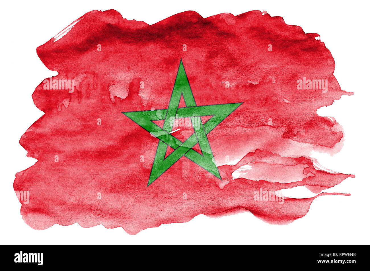 Morocco flag  is depicted in liquid watercolor style isolated on white background. Careless paint shading with image of national flag. Independence Da - Stock Image