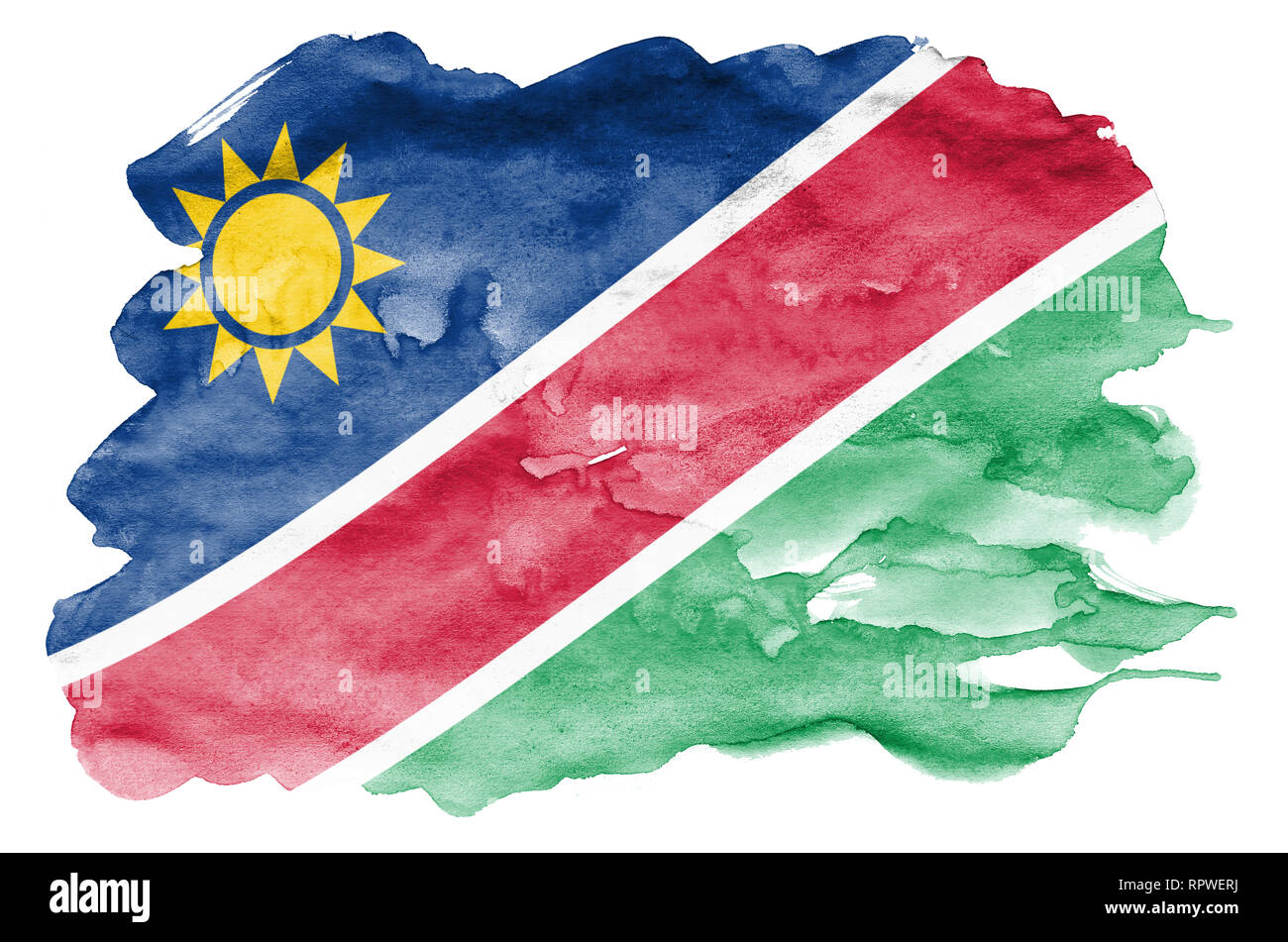 Namibia flag  is depicted in liquid watercolor style isolated on white background. Careless paint shading with image of national flag. Independence Da - Stock Image