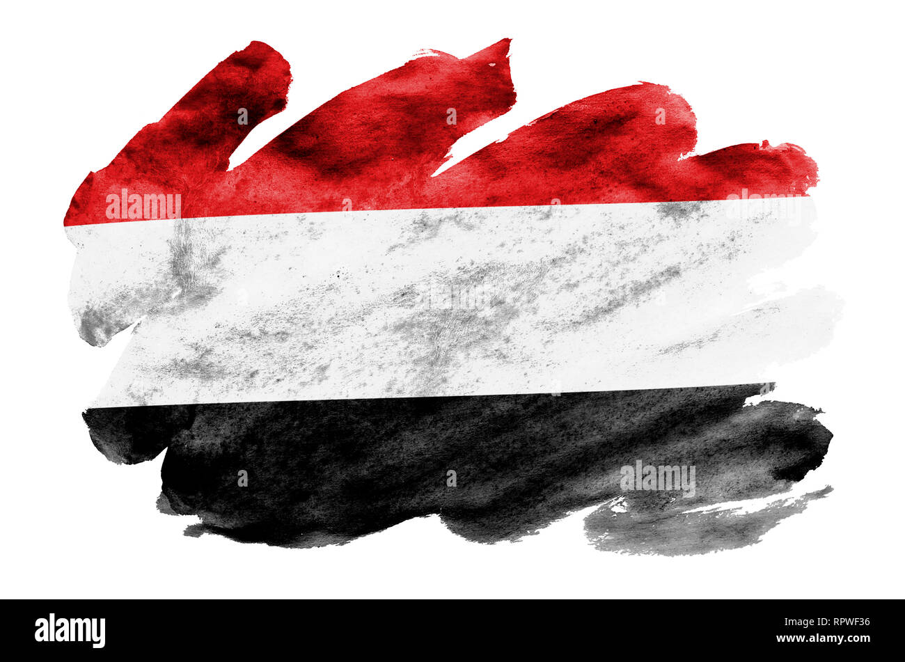 Yemen flag  is depicted in liquid watercolor style isolated on white background. Careless paint shading with image of national flag. Independence Day  - Stock Image