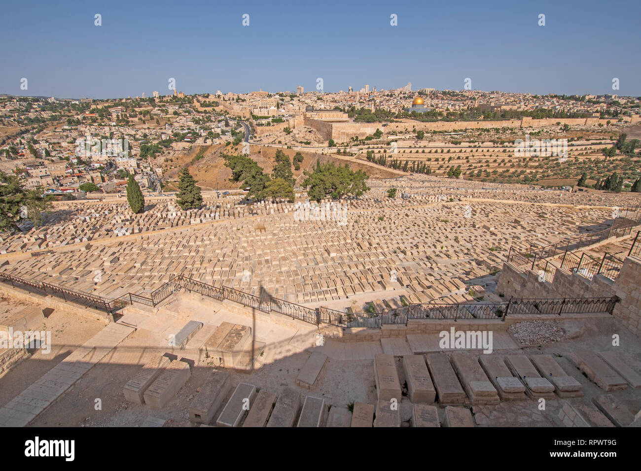 Yeusafiya Cemetery below the Garden of Gethsemane and across from Jerusalem in Israel Stock Photo