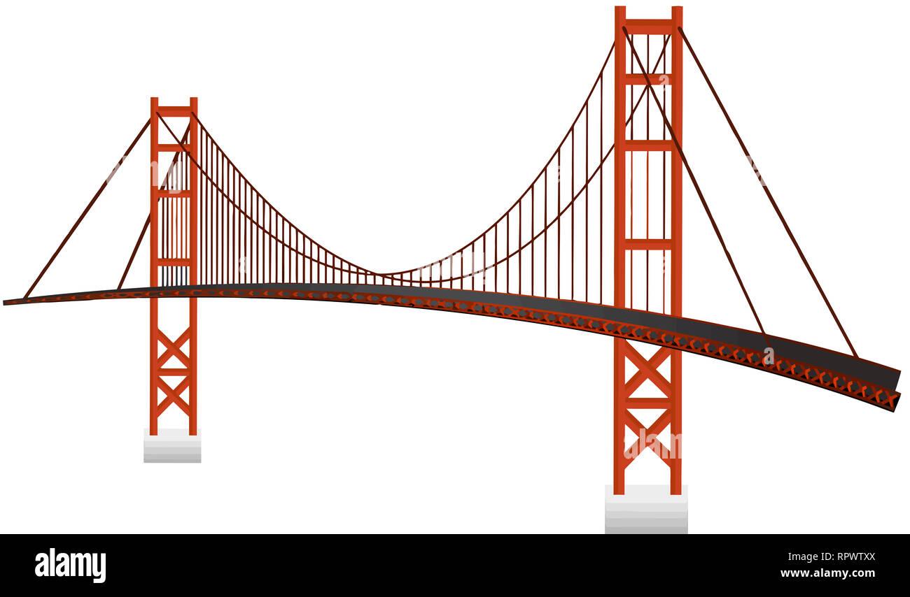 golden gate bridge landmark architecture monument illustration - Stock Image