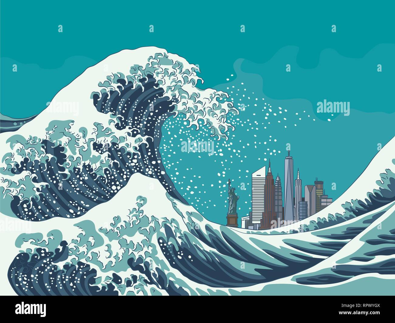 Vintage japanese engraving style great wave off New York City vector illustration - Stock Vector