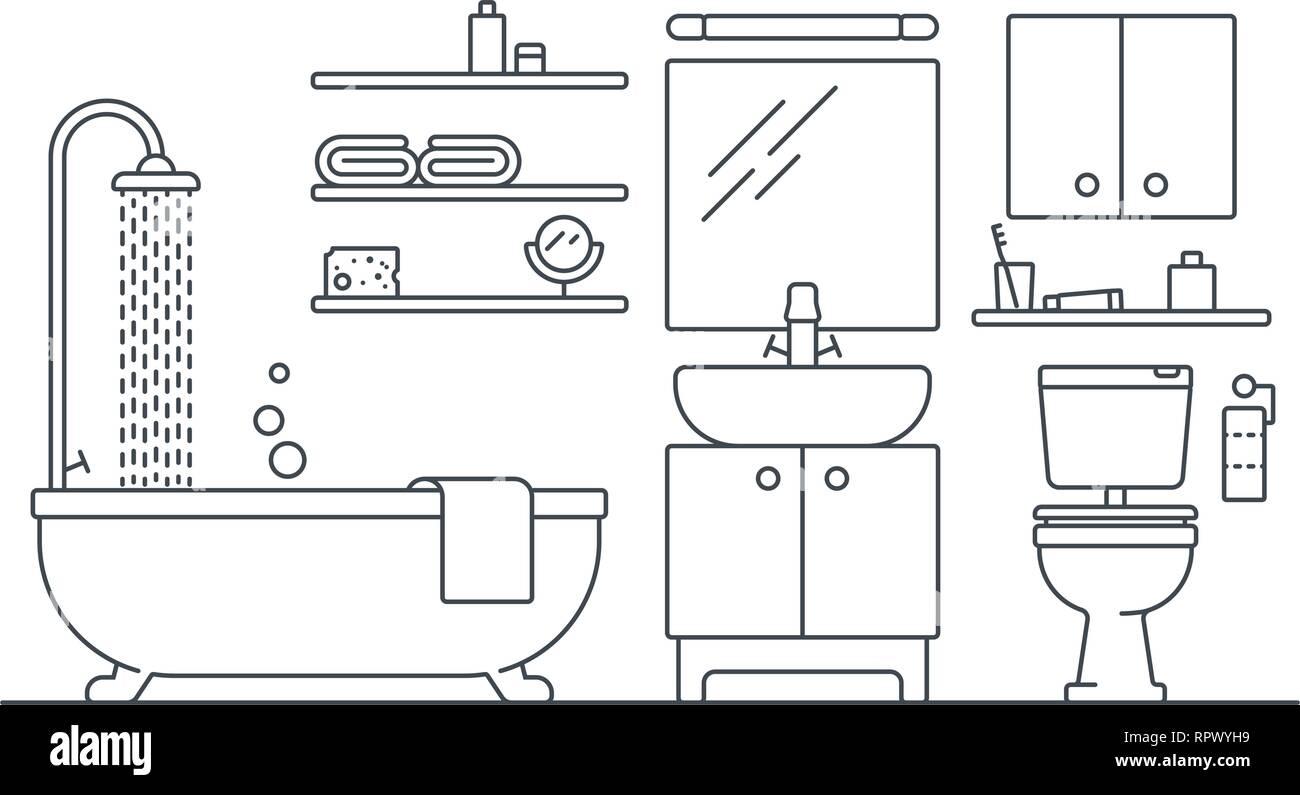 Bathroom interior line art vector illustration - Stock Vector